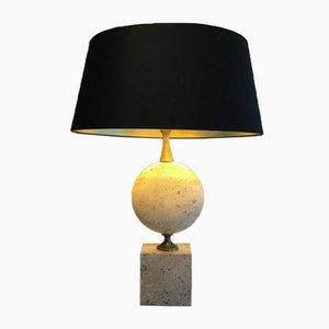 Lámpara grande de travertino de Philippe Barbier, años 60