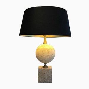 Tall Travertine Lamp by Philippe Barbier, 1960s