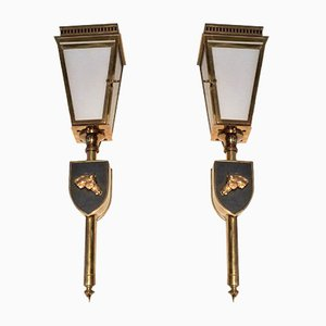 Brass, Black Lacquered Metal & Glass Wall Lamps, 1950s, Set of 2