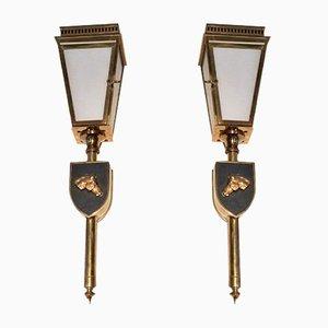 Wandlampen aus Messing, Metall & Glas , 1950er, 2er Set