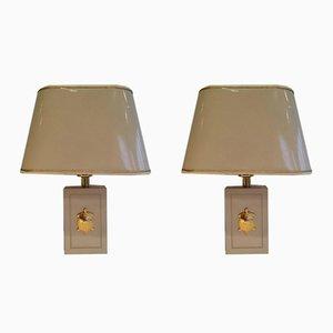 Lámparas de mesa con decoraciones de tortugas bañadas en oro. Juego de 2