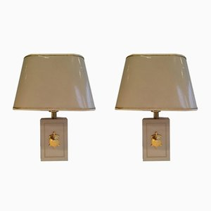 Table Lamps with Gilded Turtle Ornaments, 1970s, Set of 2