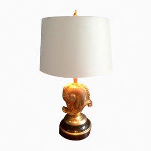 Lámpara de mesa con caballo de latón bañado en oro de Maison Charles, años 70