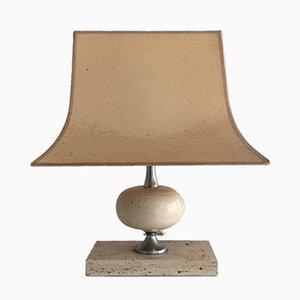 Lámpara de mesa de cromo y travertino de Philippe Barbier, años 70