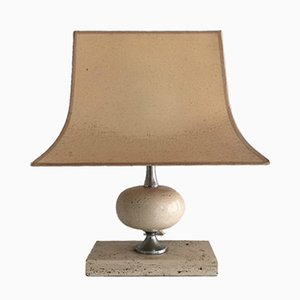 Travertine & Chrome Table Lamp by Philippe Barbier, 1970s