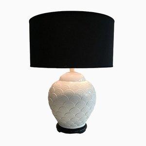 Lámpara de mesa de cerámica en blanco, años 70