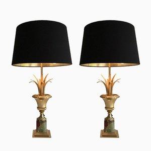 Lampes Dorées à Pied en Onyx, 1970s, Set de 2