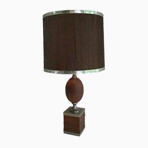 Lámpara de mesa de acero cepillado y madera con pantalla de madera, años 70