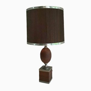 Wood & Brushed Steel Table Lamp with Wooden Shade, 1970s