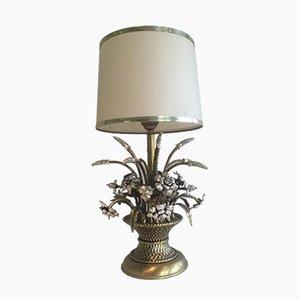 Lámpara de mesa con flores de plata y latón, años 60