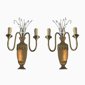 Brass & Crystal Wall Lights, 1940s, Set of 2