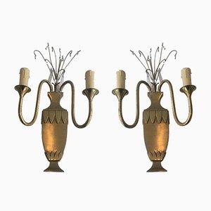 Lampade da parete in ottone e cristallo, anni '40, set di 2
