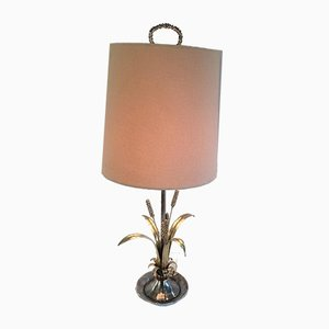Lámpara de mesa de plata y latón con espigas de trigo, años 40