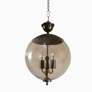 Smoked Glass & Brass Pendant Lamp, 1970s