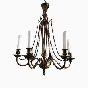 Lámpara de araña de bronce y latón, años 40