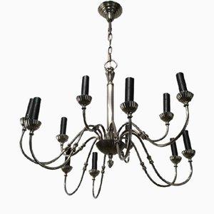 Lámpara de araña neoclásica plateada con 12 luces, años 40