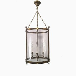 Brass, Silver & Plastic Lantern Ceiling Light, 1970s