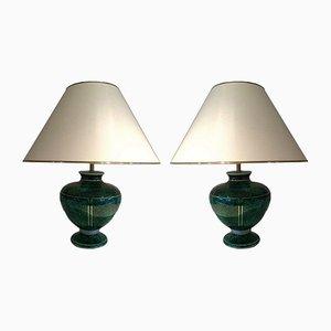 Lámparas de mesa de cerámica, años 70. Juego de 2
