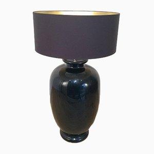 Lámpara de pie italiana grande de cerámica esmaltada en negro, años 60