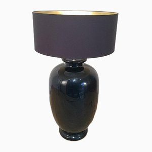 Large Italian Black Enameled Ceramic Floor Lamp, 1960s