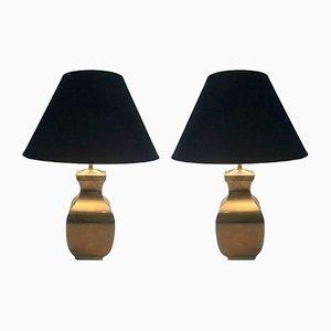 Messing Tischlampen, 1970er, 2er Set