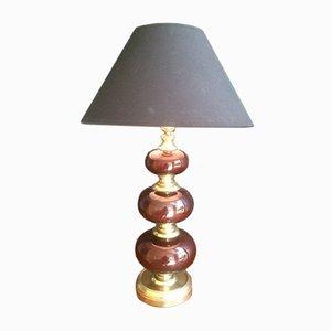 Lampe de Bureau en Verre Rouge & Laiton, 1960s