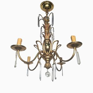 Bronze & Crystal Chandelier by Maison Bagues, 1940s