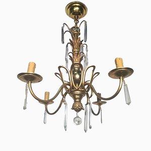 Lámpara de araña de bronce y cristal de Maison Bagues, años 40