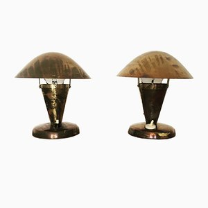 Czech Brass Table Lamps by Josef Hurka for Napako, 1930s, Set of 2