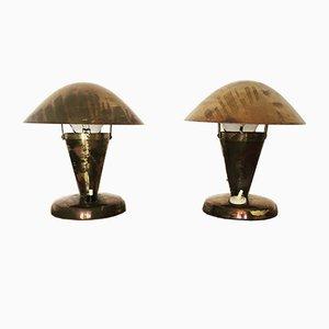 Lampade da tavolo in ottone di Josef Hurka per Napako, Repubblica Ceca, anni '30, set di 2