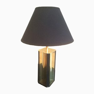 Vintage Black Wood & Gilded Metal Lamp, 1960s