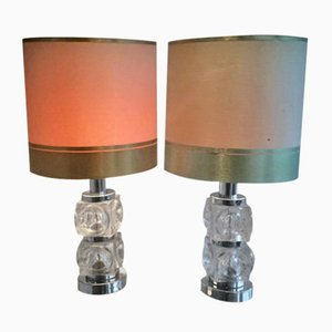Lámparas de mesa de cromo y vidrio, años 60. Juego de 2