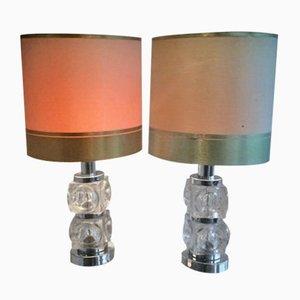 Lampes de Bureau en Verre & Chrome, 1960s, Set de 2