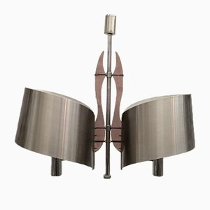 Brushed Steel & Lucite Chandelier from Maison Charles, 1960s