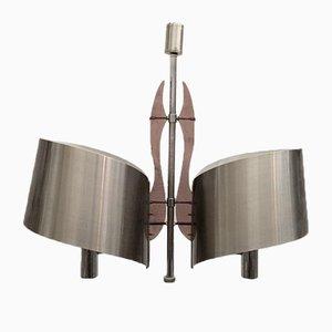 Lámpara de araña de acero cepillado y metacrilato de Maison Charles, años 60