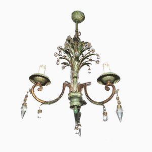 Crystal & Painted Metal Chandelier from Maison Bagues, 1940s