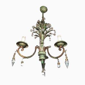 Lámpara de araña de metal pintado y cristal de Maison Bagues, años 40