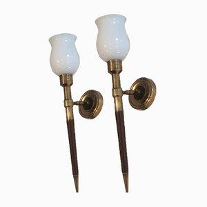 Holz, Messing & Opalglas Wandlampen, 1940er, 2er Set
