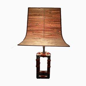 Lámpara de metal cromado y madera, años 60