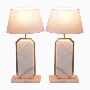 Lampade da tavolo in marmo e ottone di Camille Breesch, anni '70, set di 2