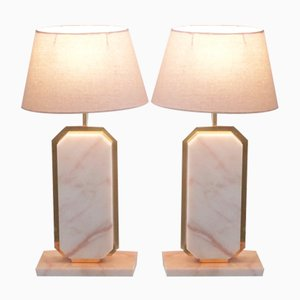 Marble & Brass Table Lamps by Camille Breesch, 1970s, Set of 2