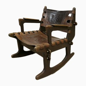 Vintage Ecuadorian Rocking Chair by Angel I. Pazmino for Muebles de Estilo