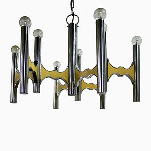 Italian Chrome Chandelier by Gaetano Sciolari, 1970s