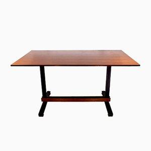 Mesa italiana de madera y hierro, años 50