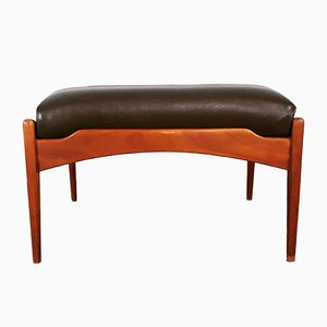 Danish Solid Teak & Brown Leather Ottoman, 1950s