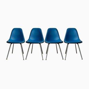 Schwarze Fiberglas DSX Stühle mit H-förmigen Gestellen von Charles & Ray Eames für Herman Miller, 1970er, 4er Set