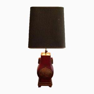 Rote lackierte & vergoldete Tischlampe, 1960er