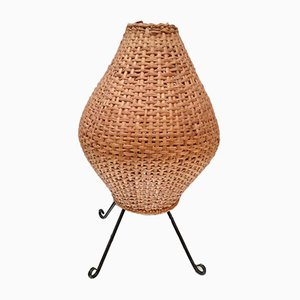 Small Rattan and Metal Lamp, 1950s