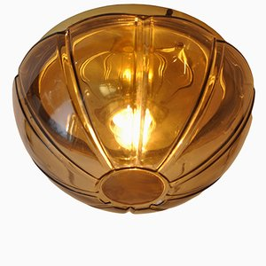 Brass & Smoked Glass Ceiling Lamp from Limburg, 1970s