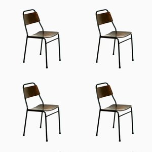 Italian Industrial Iron & Wood School Chairs, 1950s, Set of 4
